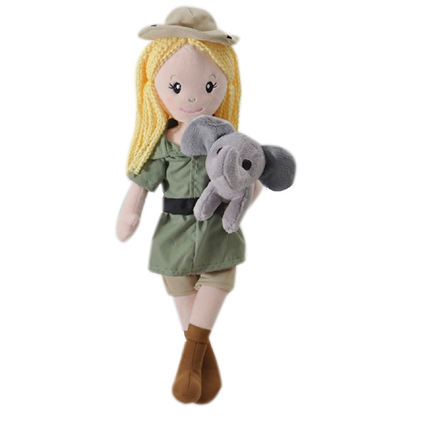ZOOKEEPER DOLL WITH ELEPHANT PLUSH