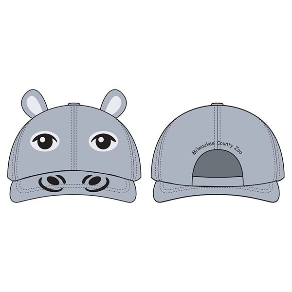 TODDLER BASEBALL HAT HIPPO GREY