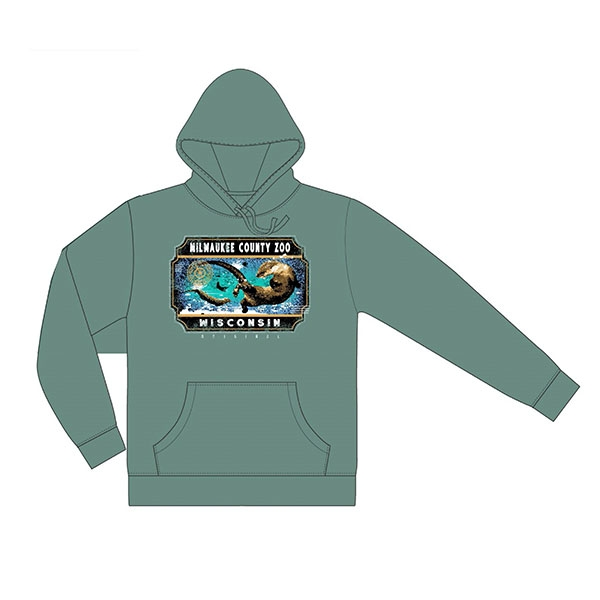 ADULT HOODED SWEATSHIRT FACET RIVER OTTER MIST GREEN